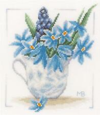 Lanarte Blue Flowers Cross Stitch Kit