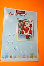CARTE POSTALE JOYEUX NOEL + enveloppe Blanche 11,5 x 16,5 cm Pere noel cadre