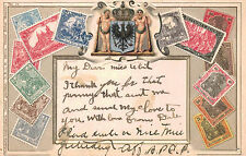 Germany,Postcard Showing Stamps from Germany,Embossed,Ottmar Zieher,Used,1908