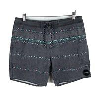 RVCA Board Shorts Mens 34 Grey Floral Drawstring