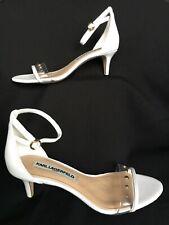 Karl Lagerfeld Sandals White Leather Ankle Strap Kitten Heel Studs/Lucite Sz 8.5
