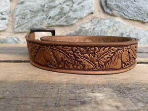 Vintage Sand & Sage Top Grain Leather Belt-Embossed Horses & Oak-Sz 34-38