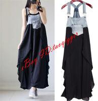 Fashion Womens Harness Vest Skirt Dress Denim Chiffon Pieced Long Dress Outwear