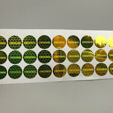 "15mm Hologram Gold ""Original ""Stickers , Round, Warranty Original Security 100"