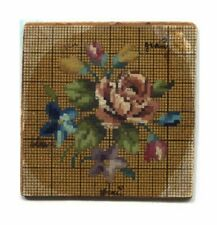 ANTIQUE ORIGINAL BERLIN WOOLWORK HAND PAINTED CHART PATTERN SMALL FLORAL W ROSE
