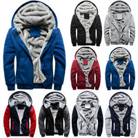 UK Mens Fur Fleece Hooded Coat Winter Warm Hoodie Jacket Overcoat Zip Up Outwear