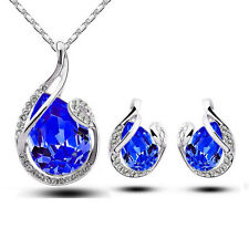 Teardrop Rhinestone Crystal Earring Pendant Chain Necklace Jewelry Set Girl Gift