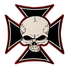 Large Maltese Cross With Skull Patch Biker Badge Embroidered Iron On Applique