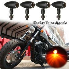 2 COPPIA FRECCE BULLET METALLO NERO OMOLOGATE MOTO CUSTOM PER HARLEY BOBBE