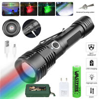 Zoom 4 in 1 Tactical RGBW LED Flashlight Light Torch Predator Hunting Hog Torch