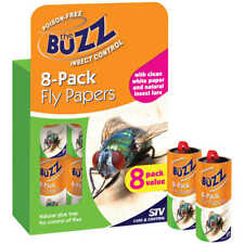 FLY TRAP The Buzz Fly Papers NATURAL GLUE TRAP FOR FLIES 8 Pack