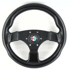 Genuine Raid 13 Alfa Romeo 320mm leather steering wheel, horn. Classic 1994.  4E