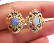 18Kt Opal Onyx Diamond Huggie Earrings Yellow Gold 2.12CT