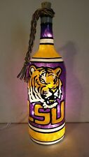 LSU Tigers Inspired Wine Bottle Lamp Hand Painted Lighted Stained Glass look