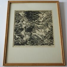 FRITZ FAISS WOODCUT PRINT RARE ABSTRACT EXPRESSIONISM MODERNISM CUBISM VINTAGE
