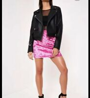 Black Pu Double Breasted Biker Jacket Size 6 RRP£60 {R27}