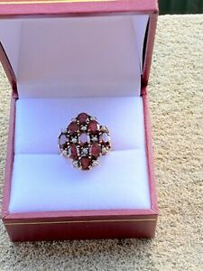 Vintage Garnet & Seed Pearl Cocktail Ring - 9ct Solid Gold - London - 1975