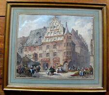 2090* authentique aquarelle école flamande scène vie anvers 19eme signé?