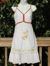 New_Beautiful Peasant Boho White Cotton Tiered Dress with Embroidery_Size S/M