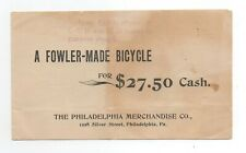 Fowler Bicycle ad from the 1900s