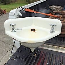 "Antique Cast Iron White Porcelain Corner Sink Vintage Bathroom 15.5"" x 15.5"""