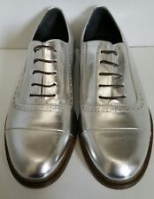 NEW $495 MEANDHER LULU 38 7.5 SILVER LEATHER BROGUES OXFORDS FLATS ITALY