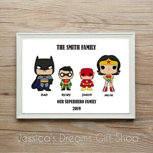 Personalised SUPERHERO Family Tree Print Gift Birthday Christmas Anniversary