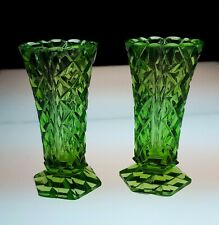 Pair Vintage Intense Green Pressed Glass Small Vases. Diamond Pattern. Gift