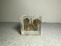 Vintage 1973 Floating Copper Lincoln Pennies in Lucite Square Cube Paperweight