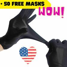 BLACK Nitrile Gloves Heavy Thik S M L XL No Powder Latex 50 100 + FREE Face Mask