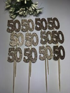 12 ROSE GOLD 50th CELEBRATION Cupcake Pick Toppers Flags Party Cake Decorations