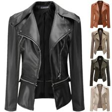 UK Womens Winter PU Leather Zip Biker Jacket Coat Punk Motorcycle Jacket Outwear