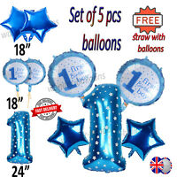 5Pcs Baby Boy Foil Balloons Star Helium Kids Birthday Party Decorations Set