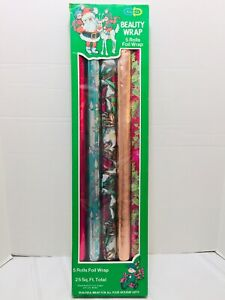 """Vintage Rare Cleo Christmas Beauty Foil Wrap 5 Rolls 26"""" X 28"""" Made In USA ,Used"""