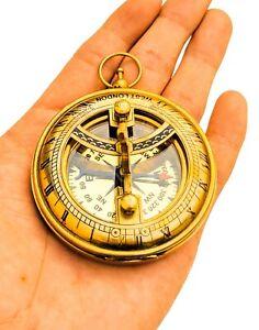 Brass Pocket Sundial Compass west London 8 cm/Gift Item For Couples, Festival