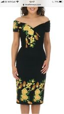 the pretty dress company FATALE black EMBROIDERED PENCIL DRESS size uk 18