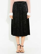 NWT Portmans Velvet Pleat Skirt Black Size 6 Size 8