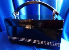 VINTAGE LEWIS SHINY BLACK LUCITE PURSE ROWS OF RHINESTONES EMBELLISHMENT !!!