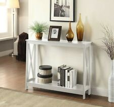 Modern White Console Hall Table Front Door Hallway Shelf X Frame Wood Furniture