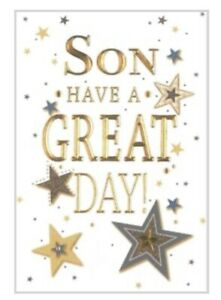 Birthday Card Son ~ Have a great Day ~ Star Script By Greetings ~ Free P&P