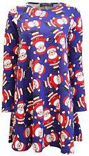 Women Ladies Kids Christmas Xmas Long Sleeve Swing Dress Santa Snowman Trees Top 8 Red Ginger Bread