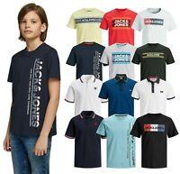 Kids Boys Jack Jones Logo Printed T-Shirt Polo Top Crew Neck Short Sleeve Tee