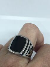 Vintage Celtic Silver Stainless Steel Size 12 Men's Genuine Black Onyx Ring