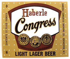 Haberle Congress Brewing HABERLE CONGRESS LIGHT LAGER BEER label NY 12oz