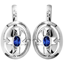 Russian Style Earrings, 1.20 cwt Genuine Sapphire in Solid 14k White Gold 585