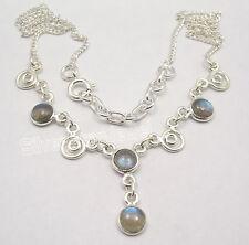 "925 Sterling Silver Original LABRADORITE Multi Gems ART Necklace 17.7"""