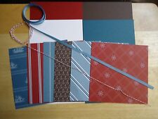 "Stampin Up NAUTICAL EXPEDITION  6 X 6"" Designer Paper Card Kit Ribbon Ships"