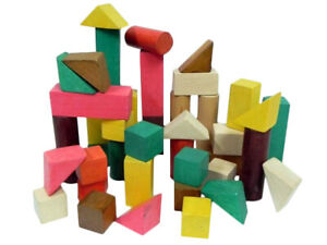 Wooden Building Blocks Games Kids Children Educational Stacking Toys 40 Pieces