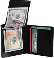 Black Premium Genuine Leather Men's Bifold Spring Money Clip Card Wallet