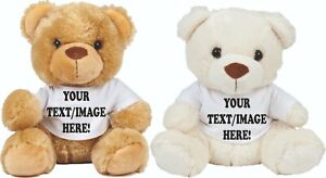 Bear In A T-Shirt - Plain or Personalised with your text or image - Teddy Bear